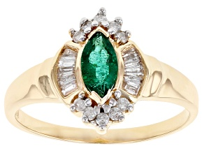 Green Emerald 14k Yellow Gold Ring 0.32ctw