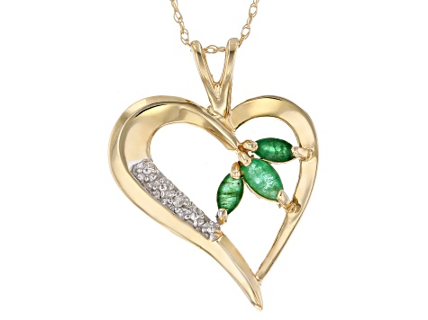 Green Emerald 10k yellow Gold Pendant with Chain 0.26ctw