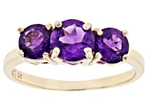 Purple Amethyst 10k Yellow Gold 3- Stone Ring 1.35ctw
