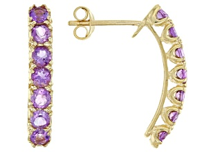 Amethyst 10k Yellow Gold Stud Earrings 0.95ctw