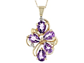Purple Amethyst 10k Yellow Gold Pendant with Chain 2.95ctw