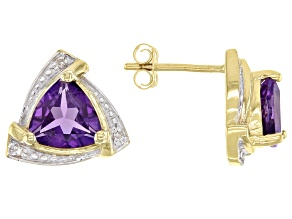 Amethyst And White Diamond Accent 10k Yellow Gold Stud Earrings 2.01ctw