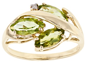 Peridot With Single Diamond Accent 10k Yellow Gold Ring 1.60ctw
