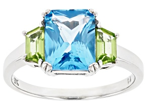 Blue Topaz And Peridot Rhodium Over 10k White Gold Ring