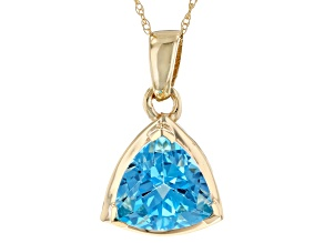 Blue Topaz 10k Yellow Gold Pendant With 18