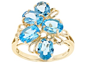 Blue Topaz 10k Yellow Gold Ring 4.95ctw