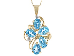Blue Topaz with Diamond Accent 10k Yellow Gold Pendant with Chain 3.95ctw