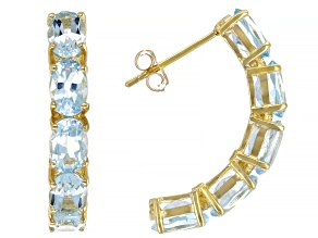 Blue Topaz 10k Yellow Gold J-Hoop Earrings 5.15ctw