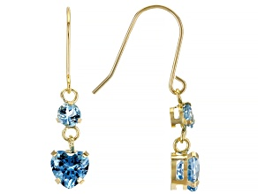 Blue Topaz 10k Yellow Gold Dangle Earrings 1.30ctw