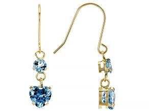 Blue Topaz 10k Yellow Gold Dangle Earrings 1.30ctw