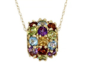 Multi-Gem 10k Yellow Gold Pendant With 18