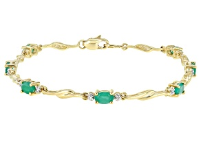 Green Emerald 10K Yellow Gold Bracelet 1.41ctw