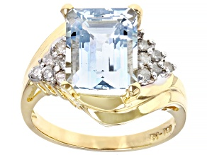 Blue Aquamarine 14k Yellow Gold Ring 3.10ctw