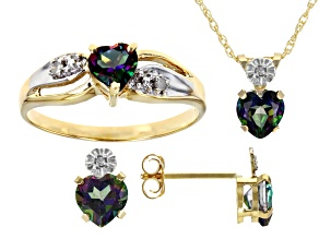Mystic Topaz And Round White Diamond 10k Yellow Gold Jewelry Set 2.30ctw