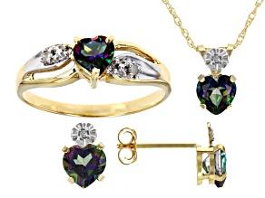 Mystic Topaz And Round White Diamond 10k Yellow Gold Jewelry Set 2.30ctw