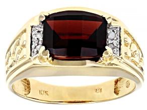 Red Garnet 10k Yellow Gold Mens Ring 3.17ctw