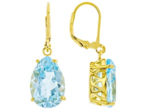 Swiss Blue Topaz 18k Yellow Gold Over Silver Earrings 11.50ctw