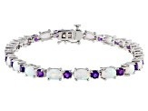Lab Created Opal Sterling Silver Station Bracelet 2.00ctw