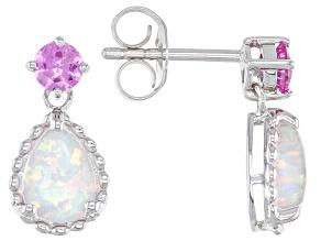 Lab Created Opal Sterling Silver Dangle Earrings 8x6mm