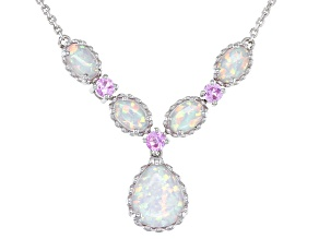 Lab Created Opal Sterling Silver Necklace 10x8mm