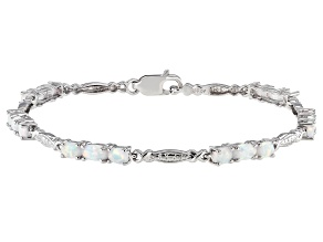 Lab Created Opal Sterling Silver Silver Bracelet 4x3mm