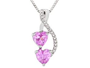 Lab Created Pink Sapphire Sterling Silver Pendant With Chain 1.31ctw
