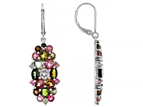 Tourmaline Rhodium Over Silver Earrings 6.00ctw