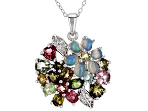 Multi-Gemstone Rhodium Over Pendant  With Chain 2.10ctw