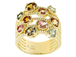 Multi Color Tourmaline 18K Yellow Gold Over Sterling Silver Ring