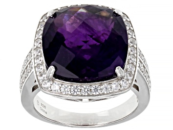 Picture of Purple Amethyst Rhodium Over Sterling Silver Ring 8.25ctw