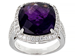 Purple Amethyst Rhodium Over Sterling Silver Ring 8.25ctw