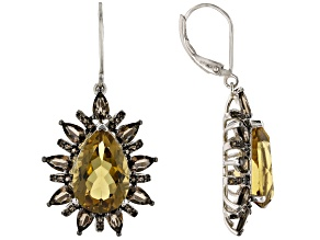 Golden Citrine Rhodium Over Sterling Silver Dangle Earrings 11.50ctw