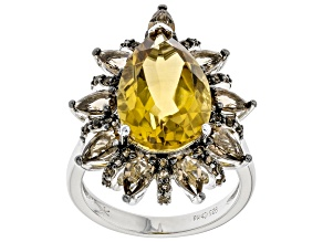 Pear Shaped Citrine  Rhodium Over Sterling Silver Ring 6.50ctw