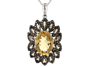 Citrine  Rhodium Over Silver Pendant With Chain 9.10ctw