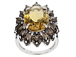 Golden Citrine Rhodium Over Sterling Silver Ring 9.50ctw