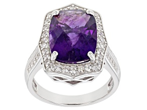 African Amethyst Rhodium Over Sterling Silver Ring 6.40ctw