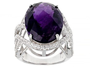 Purple Amethyst Rhodium Over Sterling Silver Ring 16.00ctw