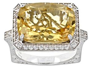 Golden Citrine Rhodium Over Sterling Silver Ring 8.90ctw