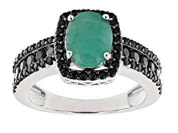 Picture of Zambian Emerald Rhodium Over Silver Ring 2.00ctw