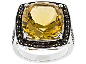 Cushion Orange Citrine Rhodium Over Sterling Silver Ring 10.25ctw