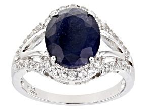 Blue Sapphire Rhodium Over Sterling Silver Ring 4.35ctw