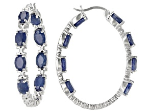 Blue Sapphire  Rhodium Over Sterling Silver Hoop Earrings 8.00ctw