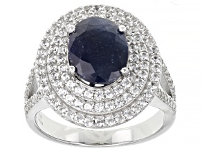 Blue Sapphire Rhodium Over Sterling Silver Ring 2.75ctw