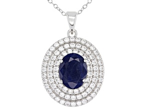Blue Sapphire Rhodium Over Sterling Silver Pendant with Chain 3.25ctw