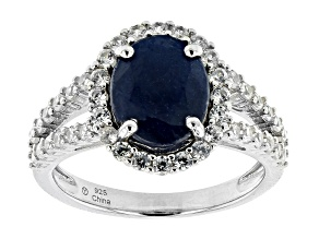 Blue Sapphire Rhodium Over Sterling Silver Ring 3.25ctw