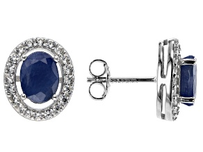 Blue Sapphire Rhodium Over Sterling Silver Stud Earrings 2.10ctw