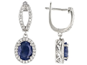 Blue Sapphire Rhodium Over Sterling Silver Earrings 4.25ctw