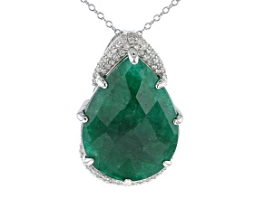 Green Beryl Rhodium Over Silver Pendant With Chain 19.00ctw