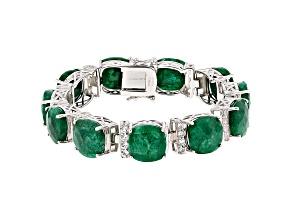 Green Beryl Rhodium Over Silver Bracelet 62.50ctw