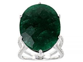 Green Beryl Rhodium Over Sterling Ring 18.40ctw